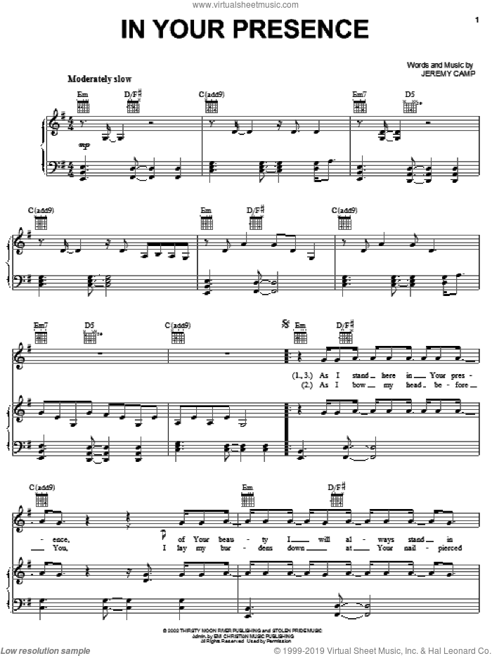 In Your Presence sheet music for voice, piano or guitar by Jeremy Camp, intermediate skill level