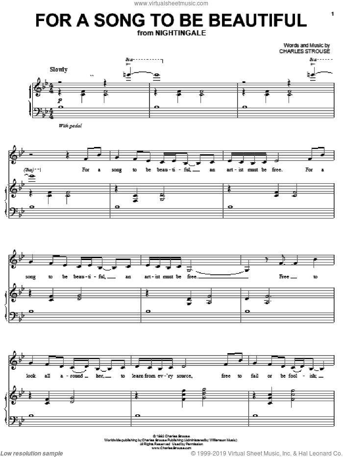 For A Song To Be Beautiful sheet music for voice, piano or guitar by Charles Strouse, intermediate skill level