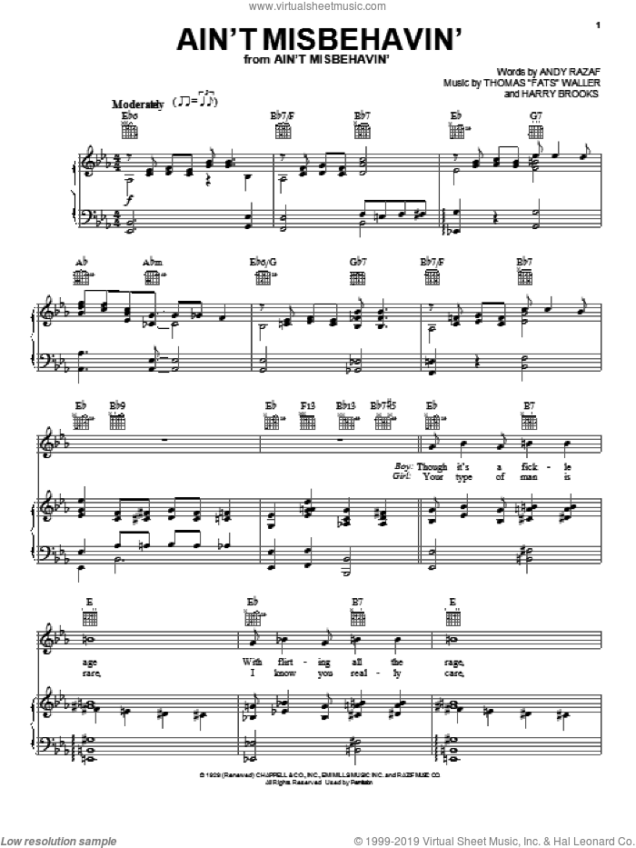 Ain't Misbehavin' sheet music for voice, piano or guitar by Andy Razaf, Louis Armstrong, Thomas Waller, Thomas Waller and Harry Brooks, intermediate skill level