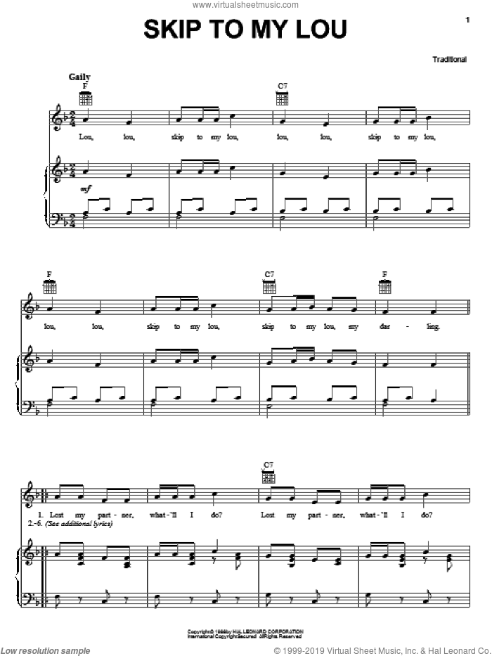 Skip To My Lou sheet music for voice, piano or guitar