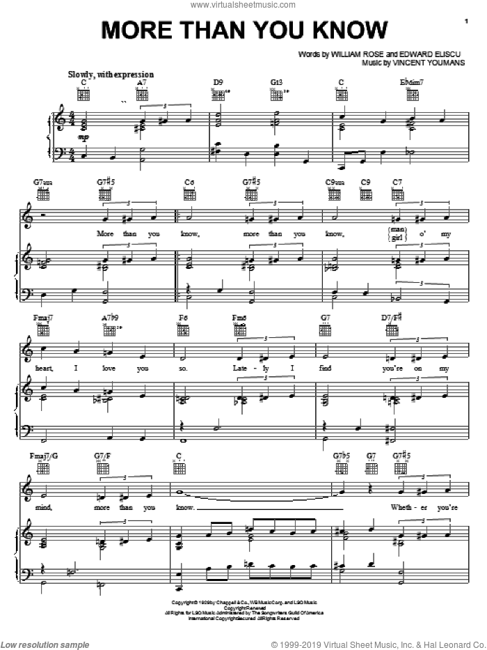 More Than You Know sheet music for voice, piano or guitar by Helen Morgan, Edward Eliscu, Vincent Youmans and William Rose, intermediate skill level