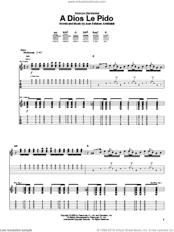 A Dios Le Pido sheet music for guitar (tablature) by Juan Esteban Aristizabal and Juanes. Score Image Preview.