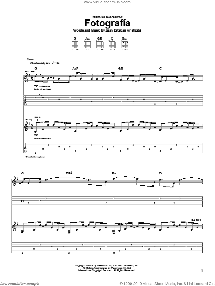 Fotografia sheet music for guitar (tablature) by Juan Esteban Aristizabal and Juanes. Score Image Preview.