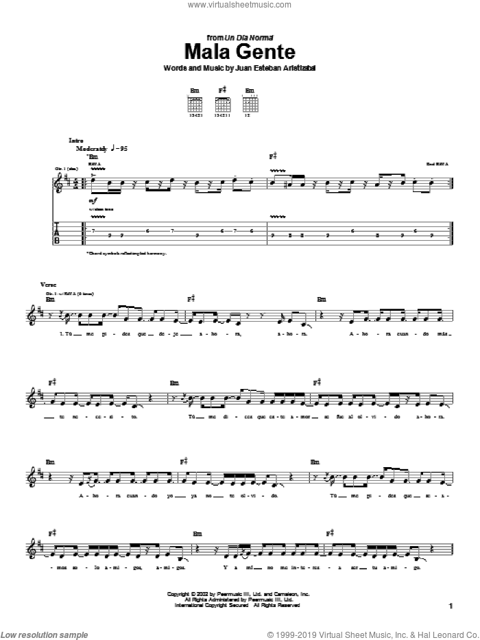Mala Gente sheet music for guitar (tablature) by Juanes and Juan Esteban Aristizabal. Score Image Preview.