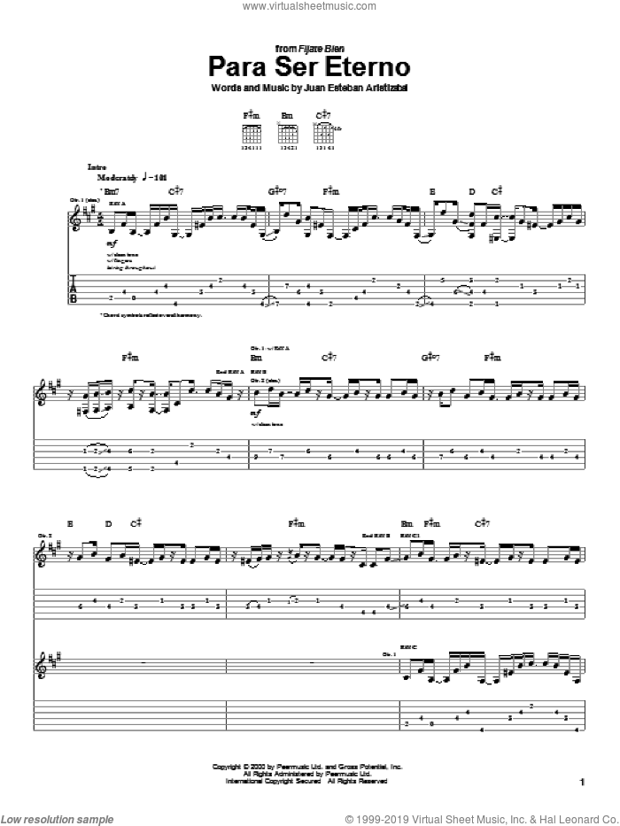 Para Ser Eterno sheet music for guitar (tablature) by Juanes and Juan Esteban Aristizabal. Score Image Preview.