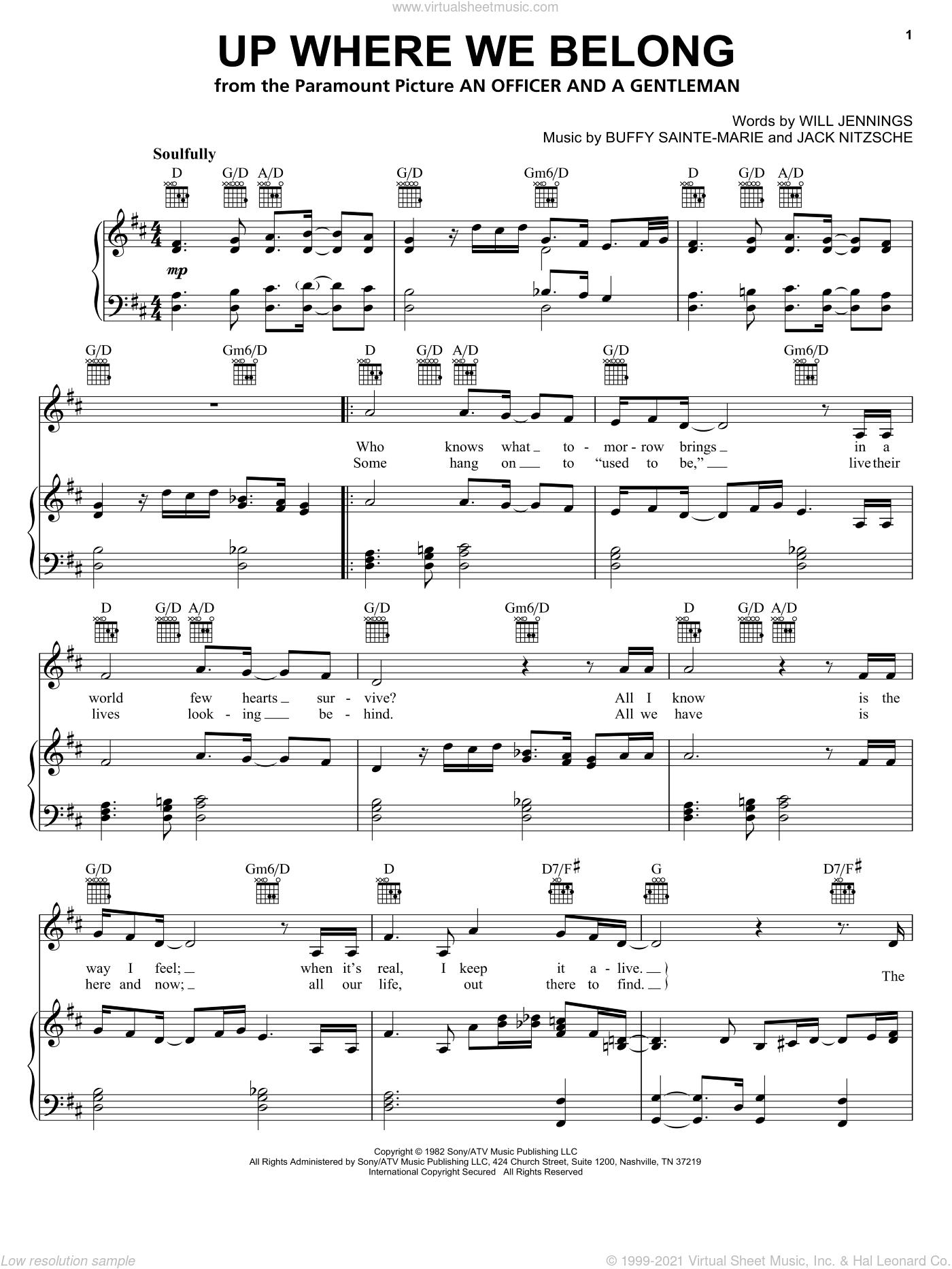 Up Where We Belong sheet music for voice, piano or guitar by Joe Cocker, BeBe & CeCe Winans, Jennifer Warnes, Buffy Sainte-Marie, Jack Nitzche and Will Jennings, intermediate skill level