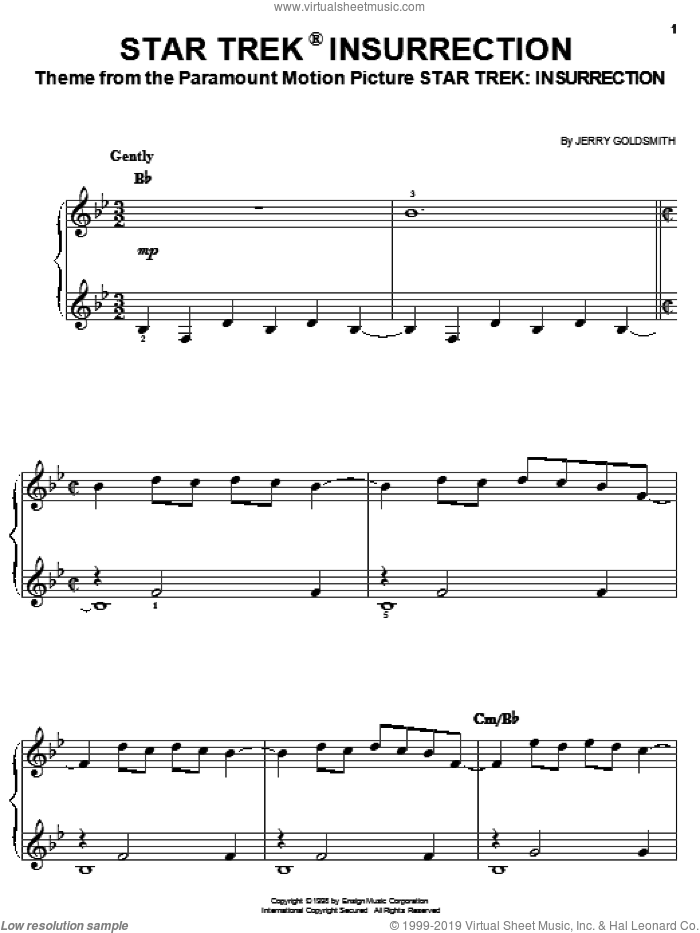Star Trek(R) Insurrection sheet music for piano solo by Jerry Goldsmith and Star Trek(R), easy skill level