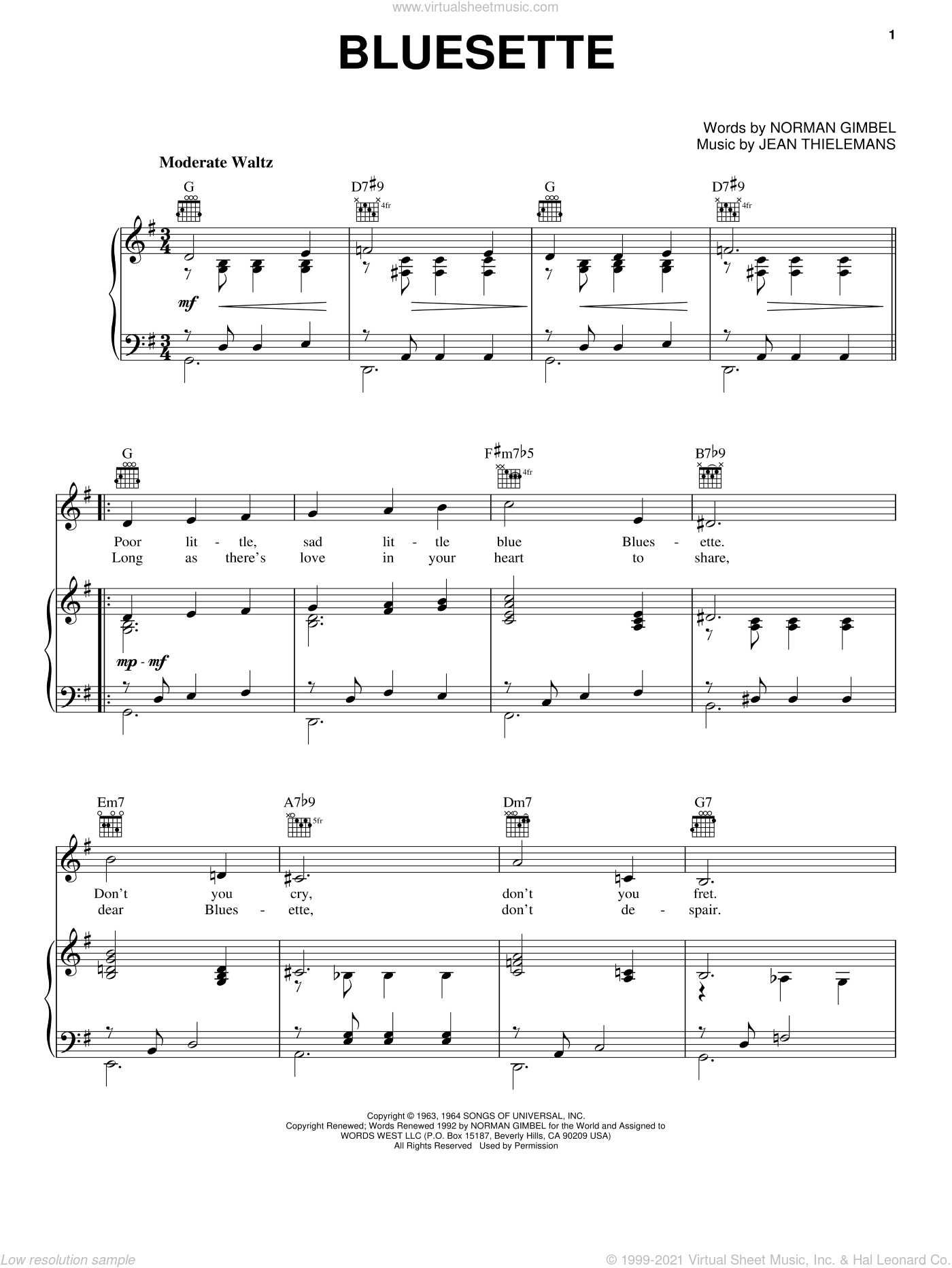 Bluesette sheet music for voice, piano or guitar by Norman Gimbel and Jean Thielemans. Score Image Preview.