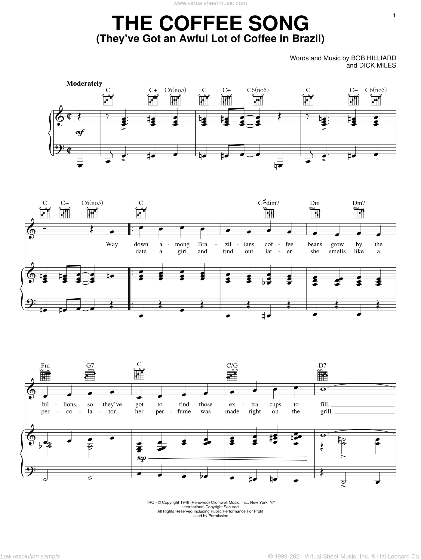 The Coffee Song (They've Got An Awful Lot Of Coffee In Brazil) sheet music for voice, piano or guitar by Dick Miles