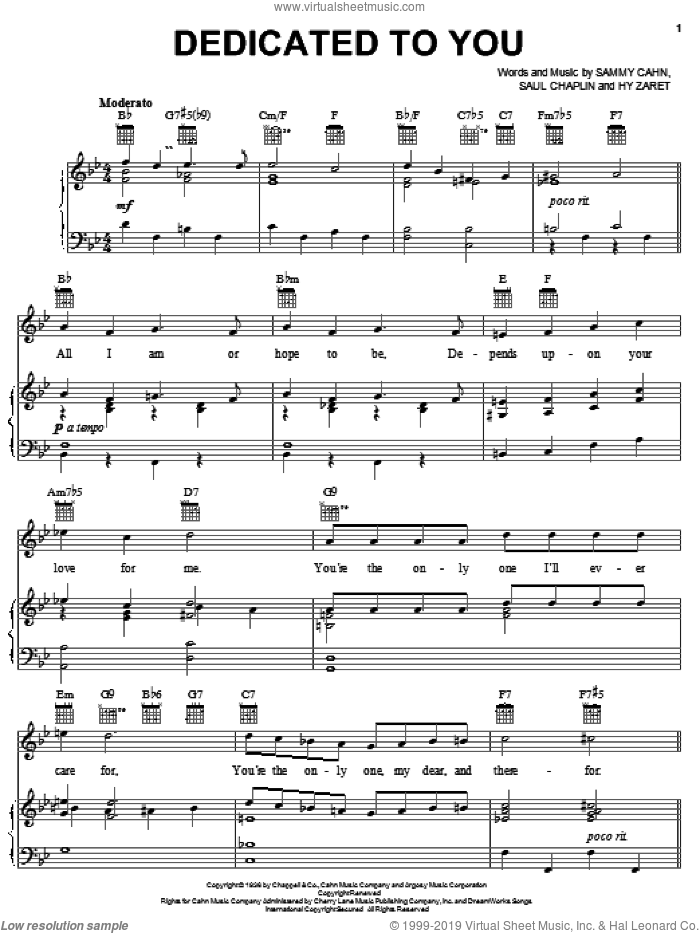 Dedicated To You sheet music for voice, piano or guitar by Saul Chaplin, Ella Fitzgerald, Sarah Vaughan, Hy Zaret and Sammy Cahn. Score Image Preview.