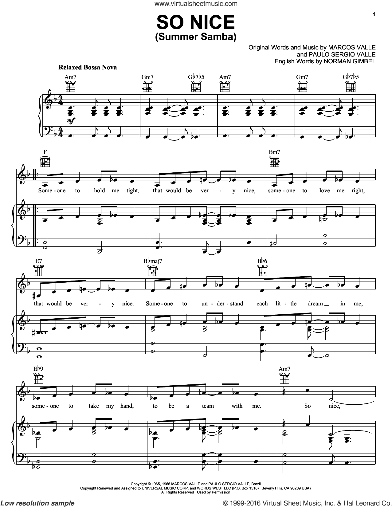 So Nice (Summer Samba) sheet music for voice, piano or guitar by Marcos Valle, Norman Gimbel and Paulo Sergio Valle, intermediate voice, piano or guitar. Score Image Preview.