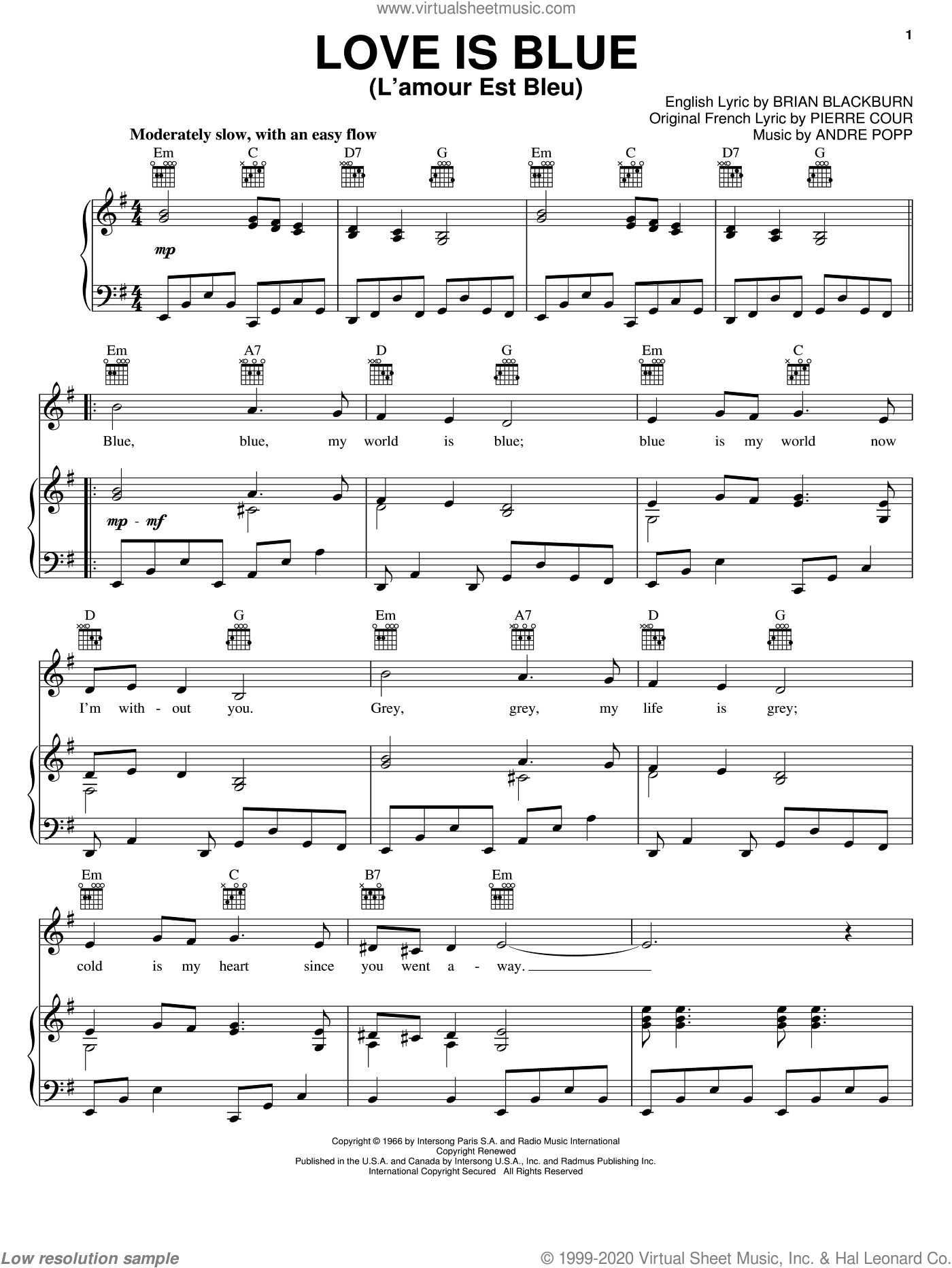 Love Is Blue (L'amour Est Bleu) sheet music for voice, piano or guitar by Pierre Cour and Andre Popp. Score Image Preview.