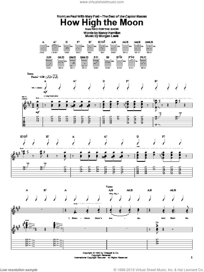 How High The Moon sheet music for guitar (tablature) by Les Paul, Django Reinhardt, Mary Ford, Morgan Lewis and Nancy Hamilton, intermediate