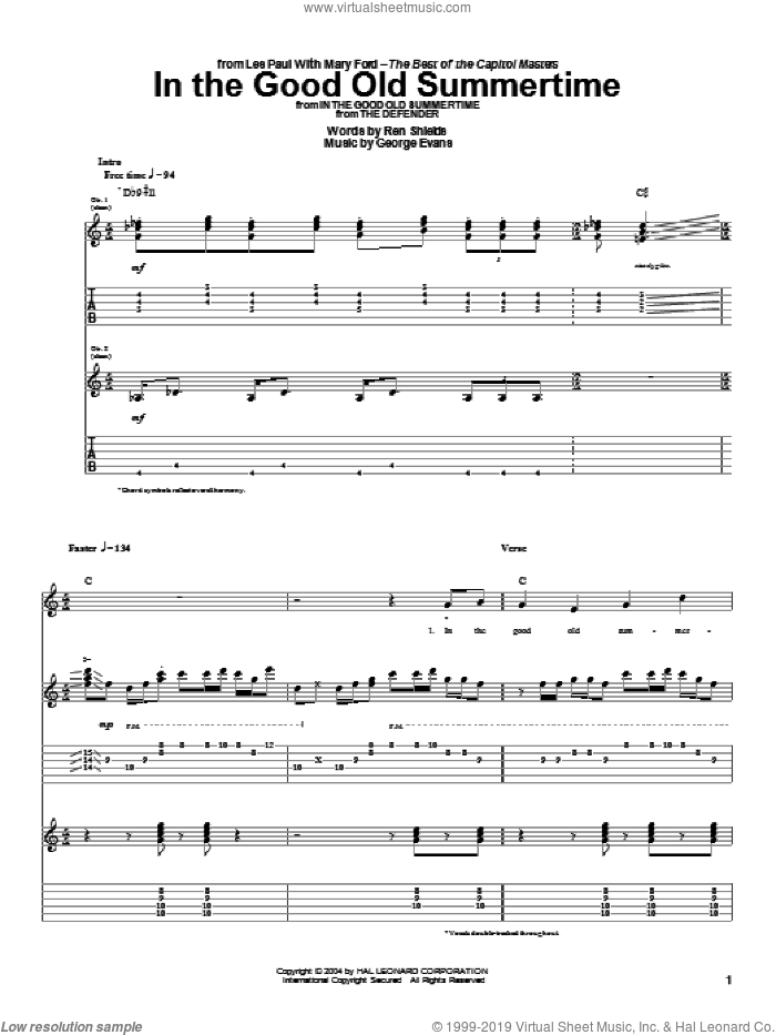 In The Good Old Summertime sheet music for guitar (tablature) by George Evans