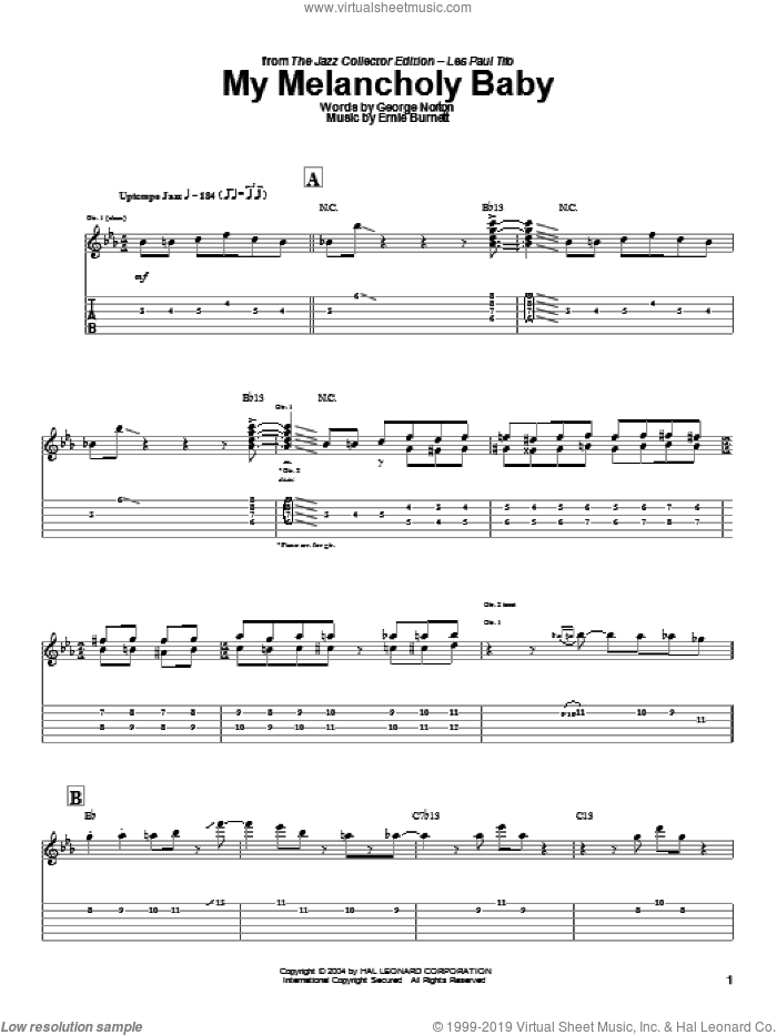 My Melancholy Baby sheet music for guitar (tablature) by George A. Norton, Django Reinhardt, Les Paul and Ernie Burnett. Score Image Preview.