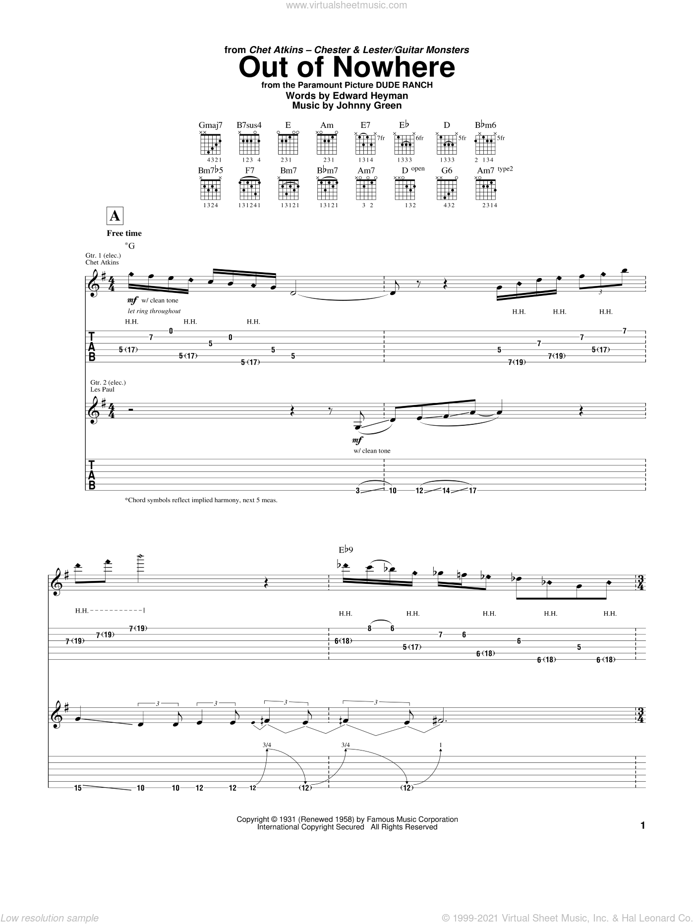 Out Of Nowhere sheet music for guitar (tablature) by Johnny Green, Chet Atkins, Django Reinhardt, Les Paul and Edward Heyman