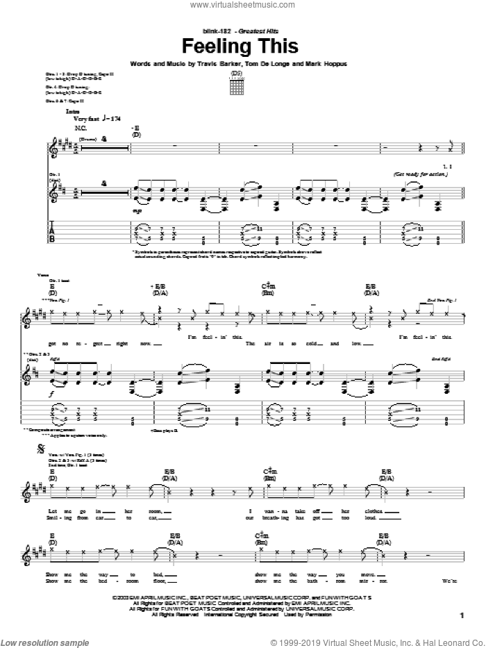 Feeling This sheet music for guitar (tablature) by Blink-182, intermediate guitar (tablature). Score Image Preview.