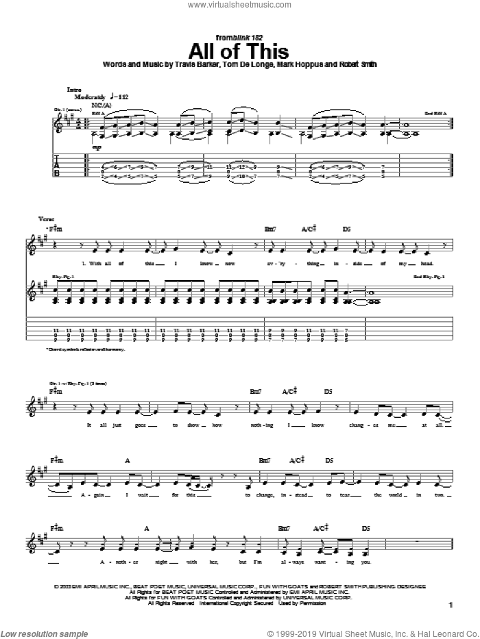 All Of This sheet music for guitar (tablature) by Blink-182. Score Image Preview.