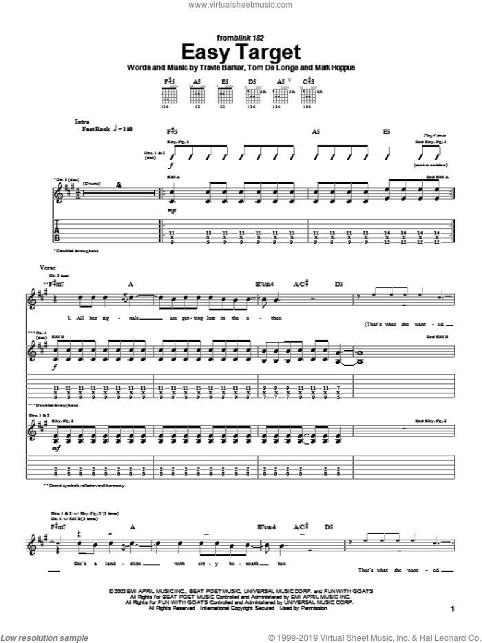 Easy Target sheet music for guitar (tablature) by Travis Barker