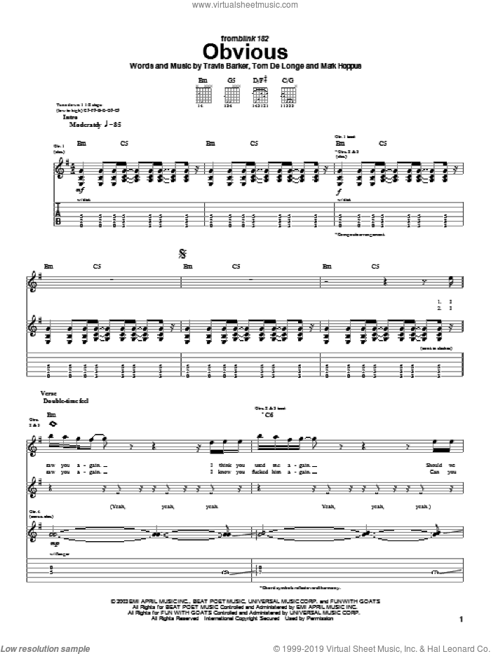 Obvious sheet music for guitar (tablature) by Travis Barker, Blink-182, Mark Hoppus and Tom DeLonge. Score Image Preview.