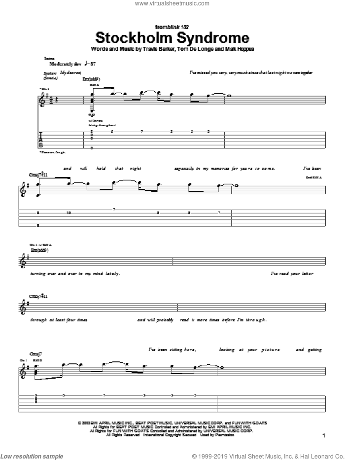 Stockholm Syndrome sheet music for guitar (tablature) by Blink-182, Mark Hoppus, Tom DeLonge and Travis Barker, intermediate. Score Image Preview.