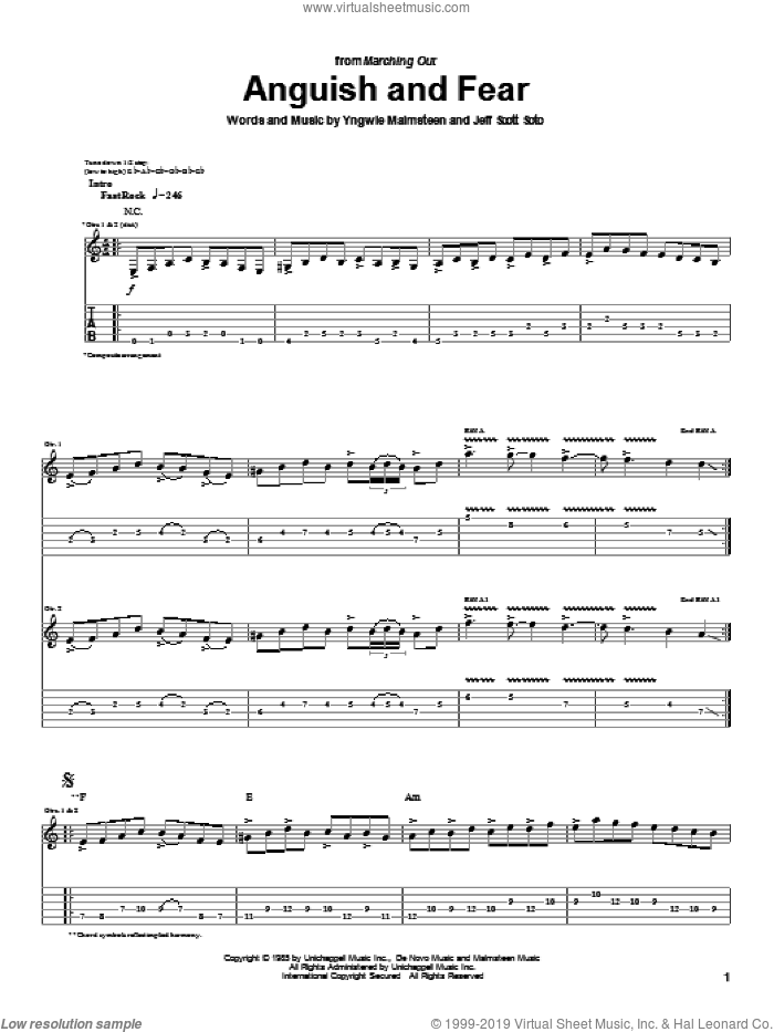 Anguish And Fear sheet music for guitar (tablature) by Jeff Scott Soto and Yngwie Malmsteen. Score Image Preview.