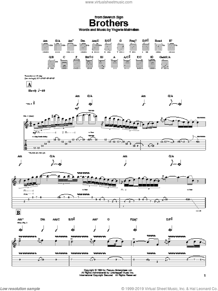 Brothers sheet music for guitar (tablature) by Yngwie Malmsteen, intermediate guitar (tablature). Score Image Preview.