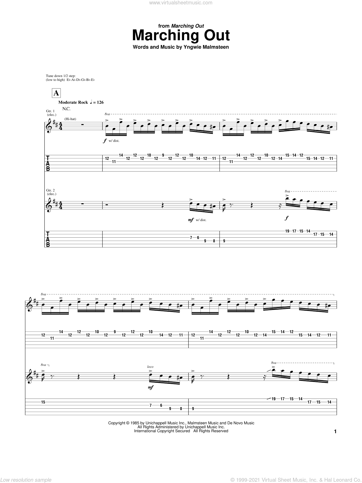 Marching Out sheet music for guitar (tablature) by Yngwie Malmsteen, intermediate. Score Image Preview.