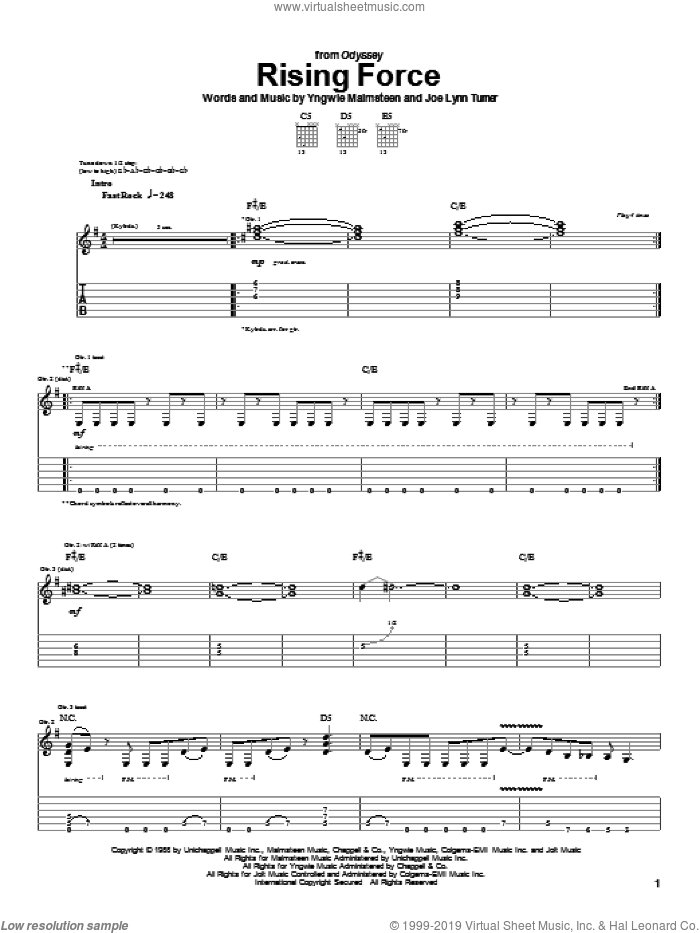 Rising Force sheet music for guitar (tablature) by Joe Lynn Turner and Yngwie Malmsteen