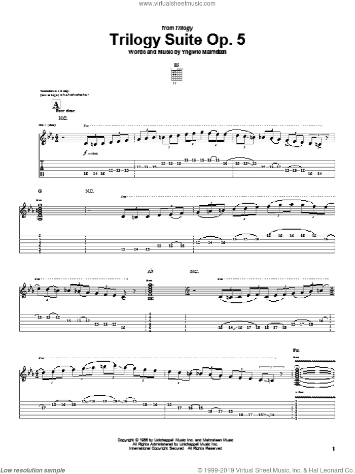 Trilogy Suite Op. 5 sheet music for guitar (tablature) by Yngwie Malmsteen, intermediate