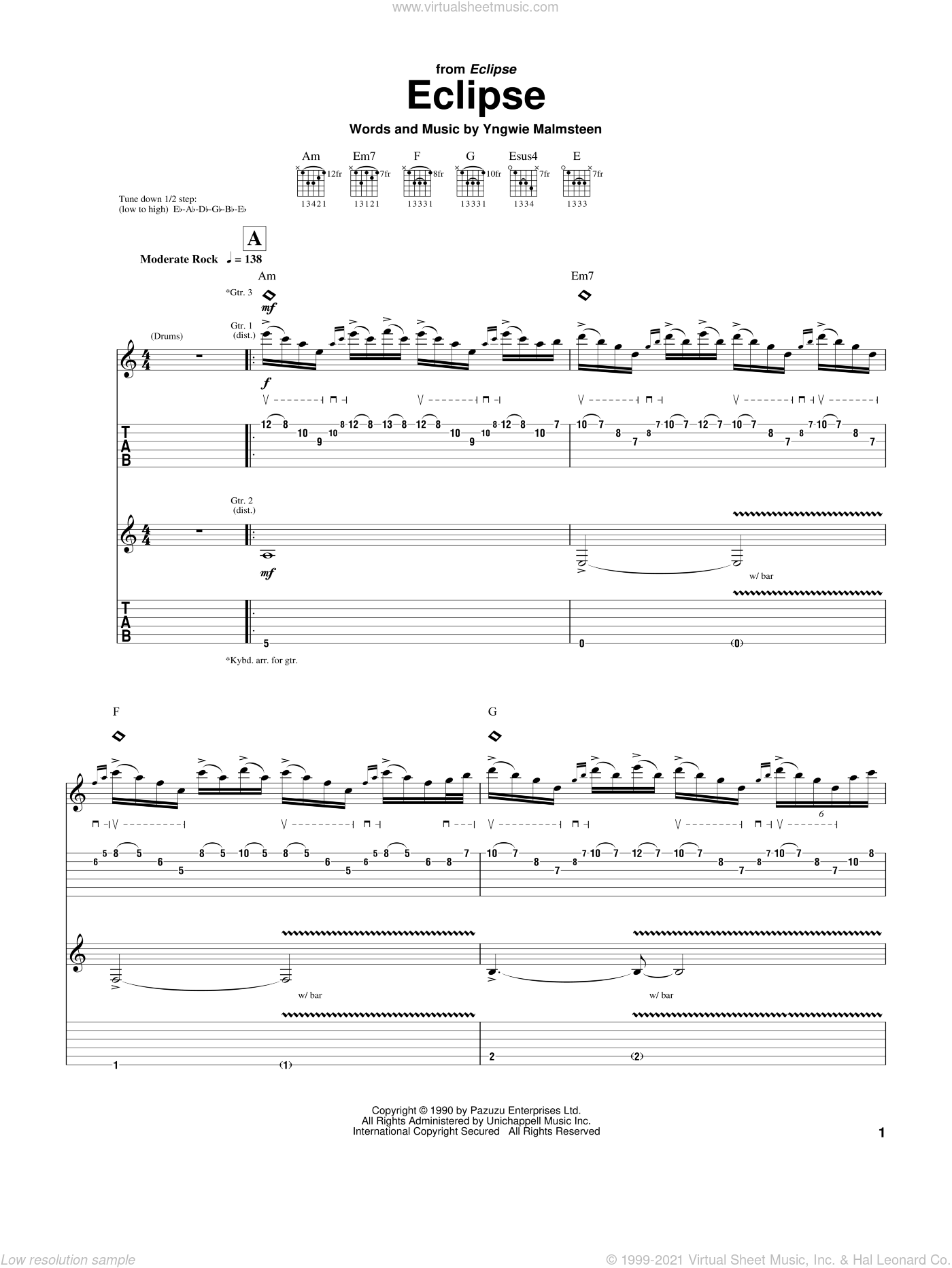 Eclipse sheet music for guitar (tablature) by Yngwie Malmsteen. Score Image Preview.