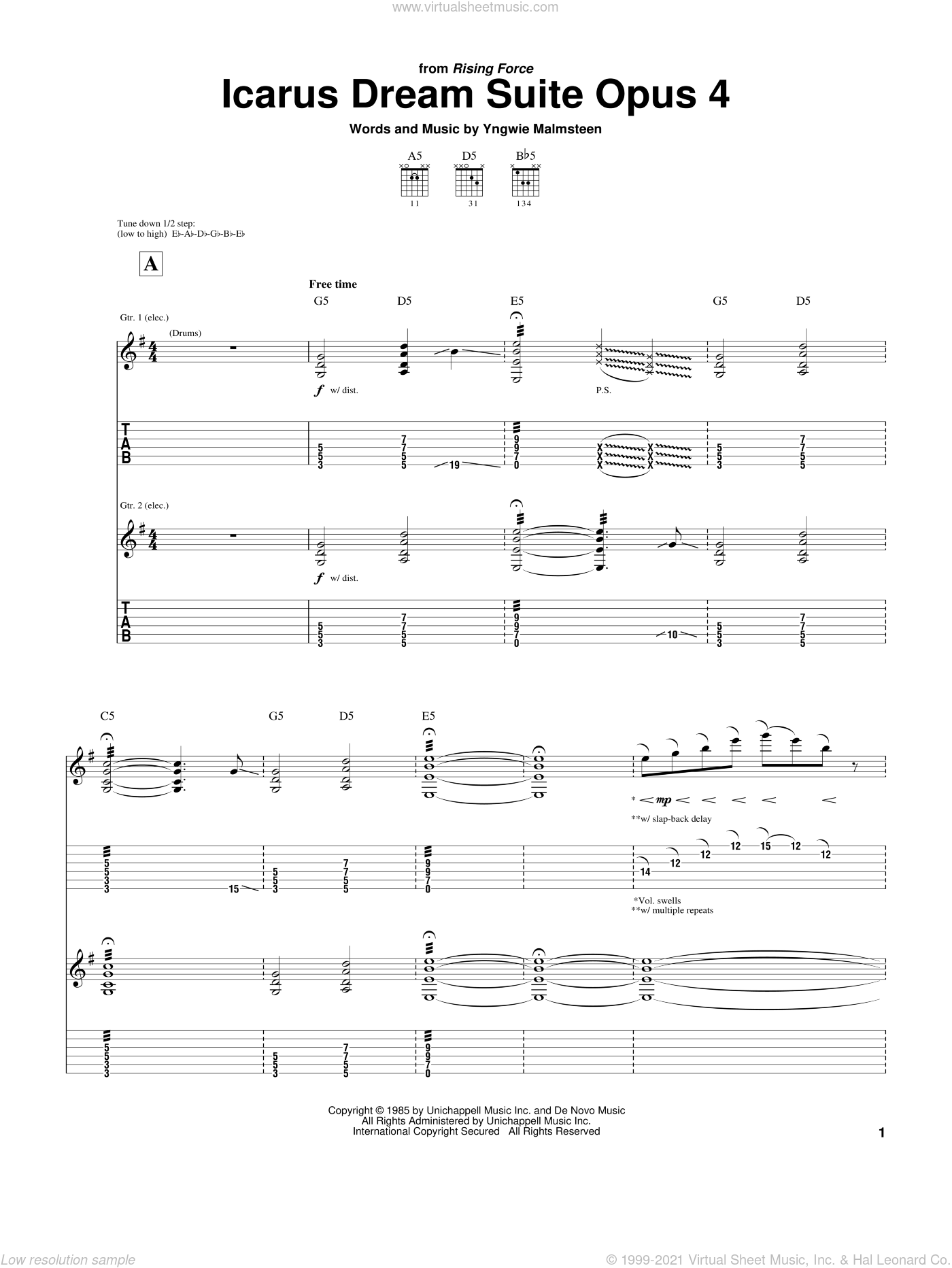 Icarus Dream Suite Opus 4 sheet music for guitar (tablature) by Yngwie Malmsteen. Score Image Preview.