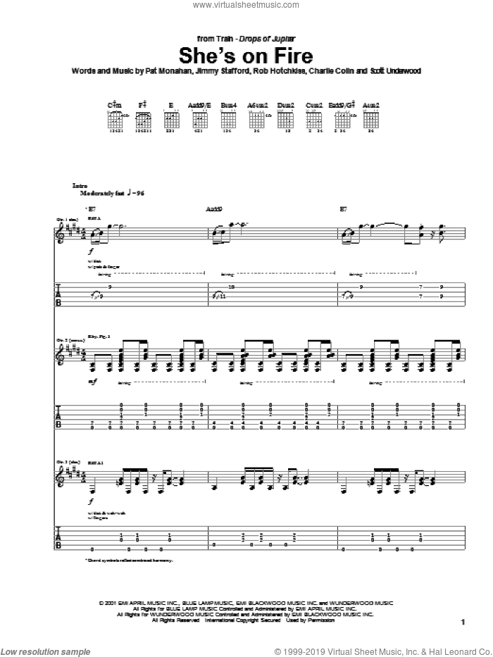 She's On Fire sheet music for guitar (tablature) by Rob Hotchkiss, Train and Pat Monahan. Score Image Preview.