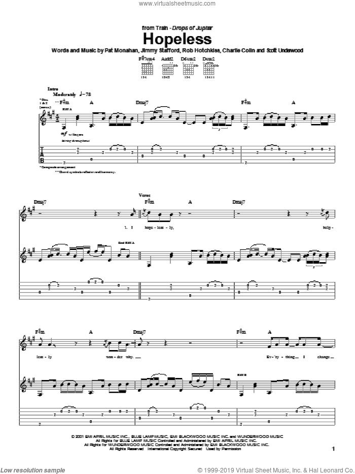 Hopeless sheet music for guitar (tablature) by Train, Jimmy Stafford, Pat Monahan and Rob Hotchkiss, intermediate skill level