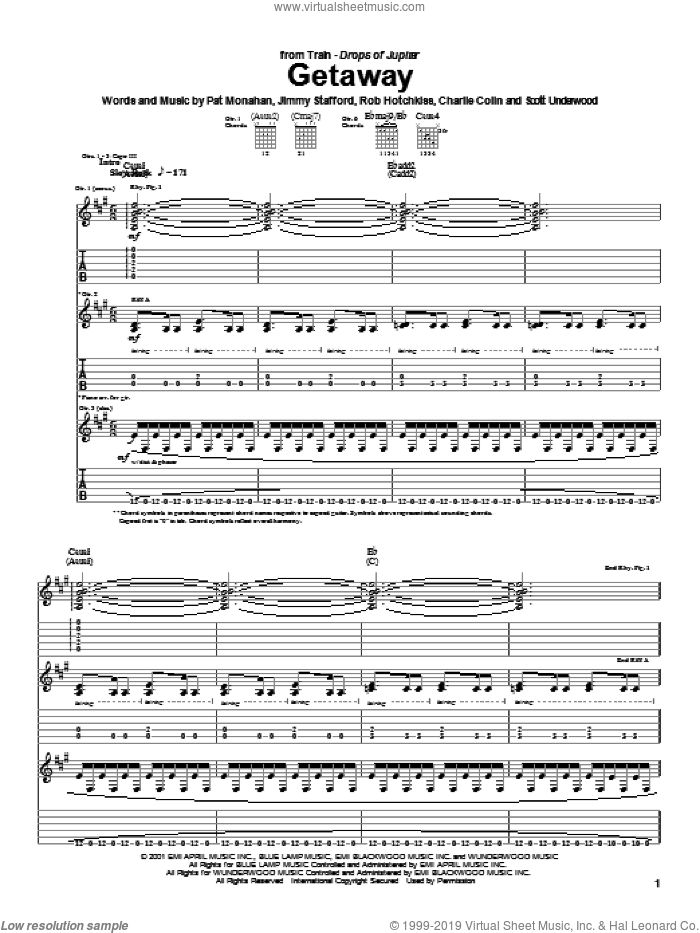 Getaway sheet music for guitar (tablature) by Train and Pat Monahan. Score Image Preview.