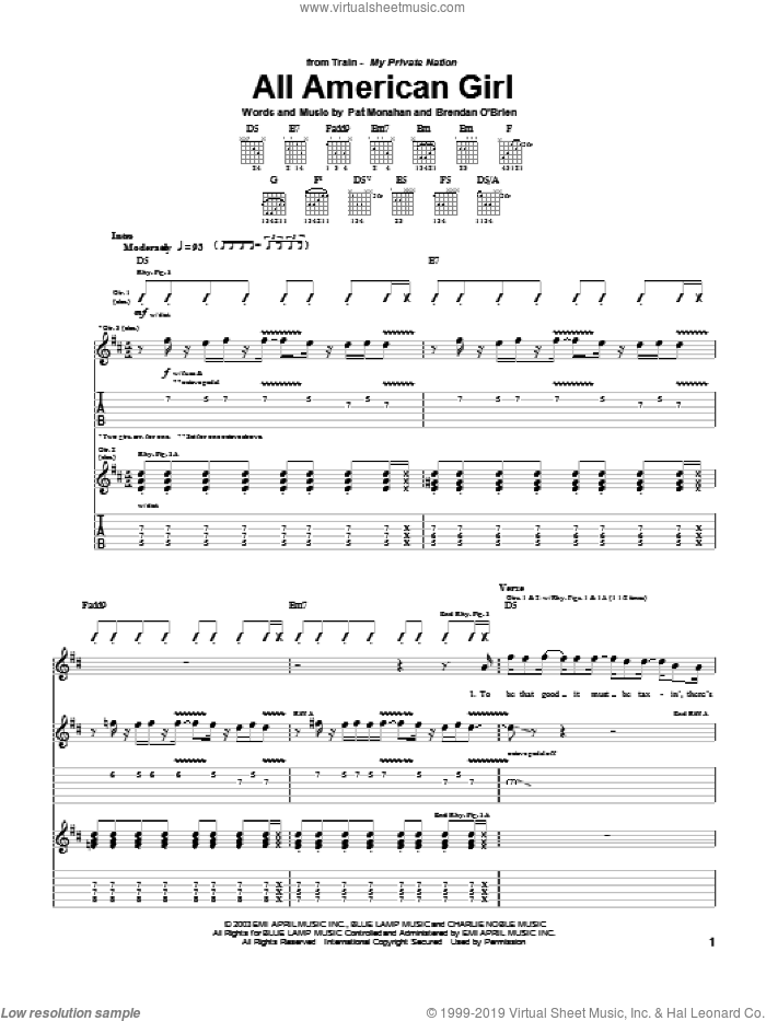 All American Girl sheet music for guitar (tablature) by Train and Pat Monahan, intermediate skill level