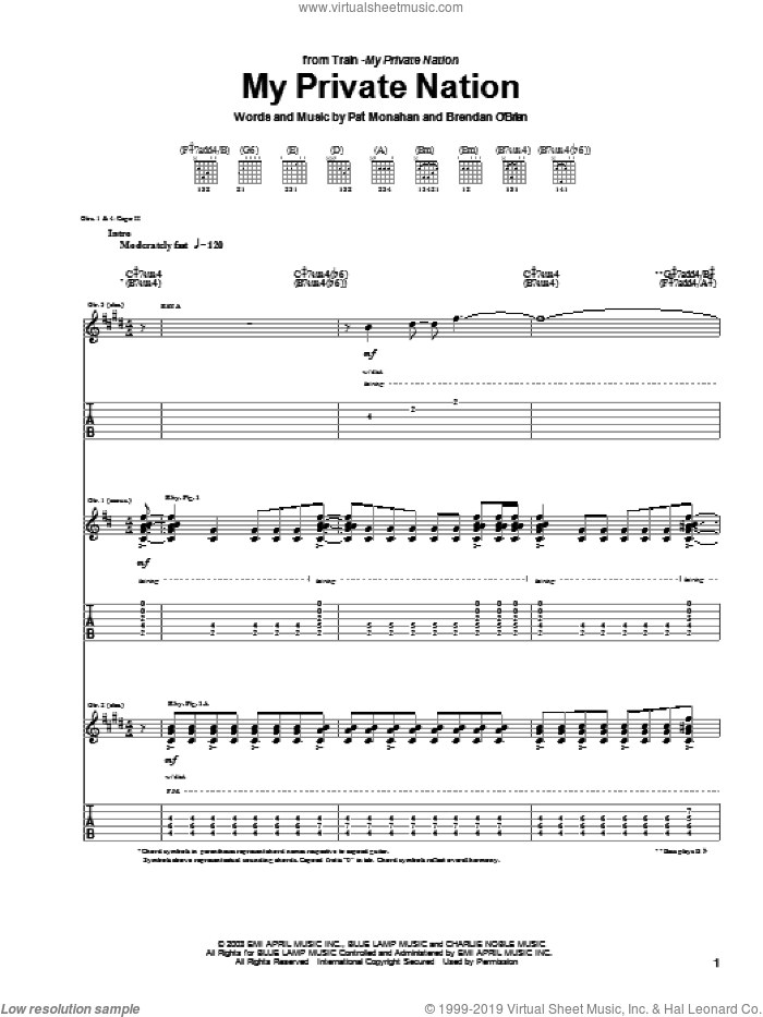 My Private Nation sheet music for guitar (tablature) by Train and Pat Monahan, intermediate skill level
