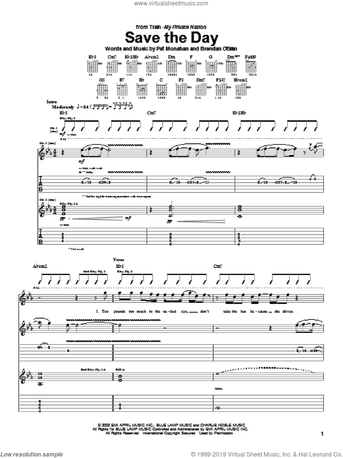 Save The Day sheet music for guitar (tablature) by Train and Pat Monahan, intermediate skill level