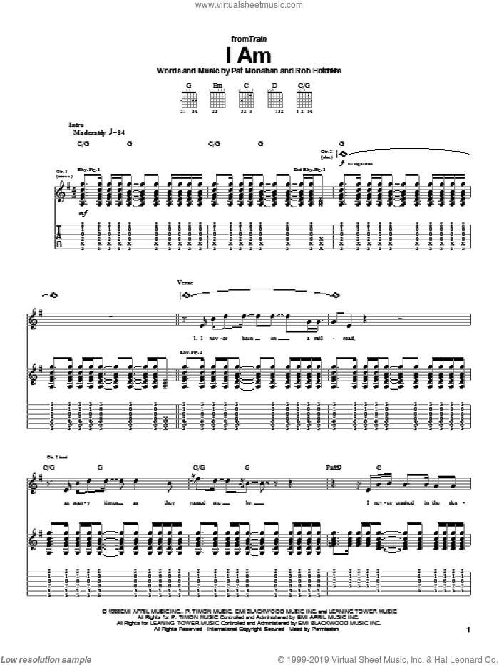 I Am sheet music for guitar (tablature) by Train and Pat Monahan, intermediate. Score Image Preview.