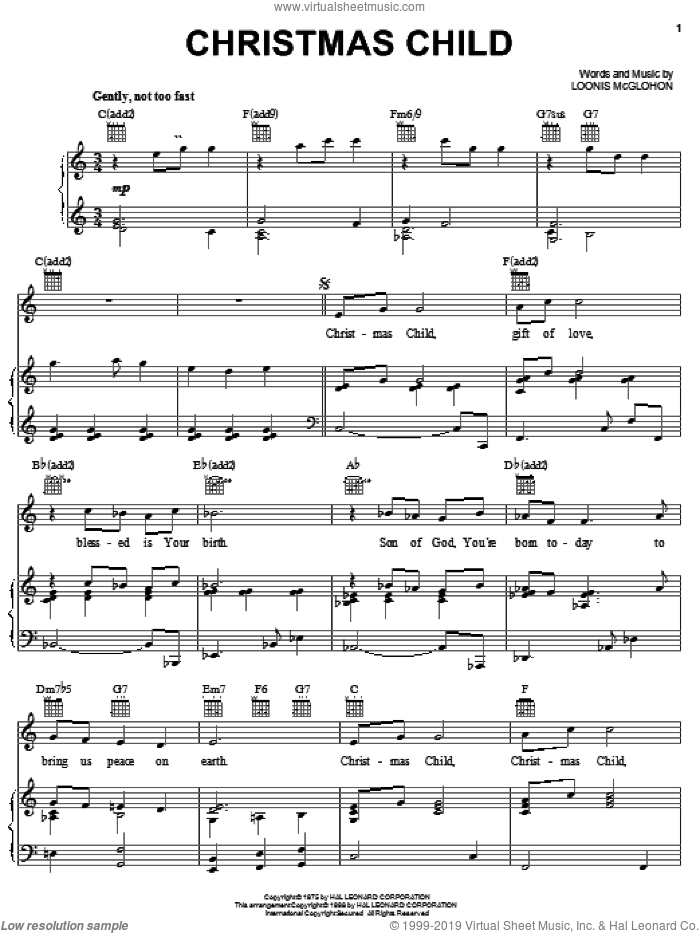 Christmas Child sheet music for voice, piano or guitar by Loonis McGlohon, intermediate. Score Image Preview.