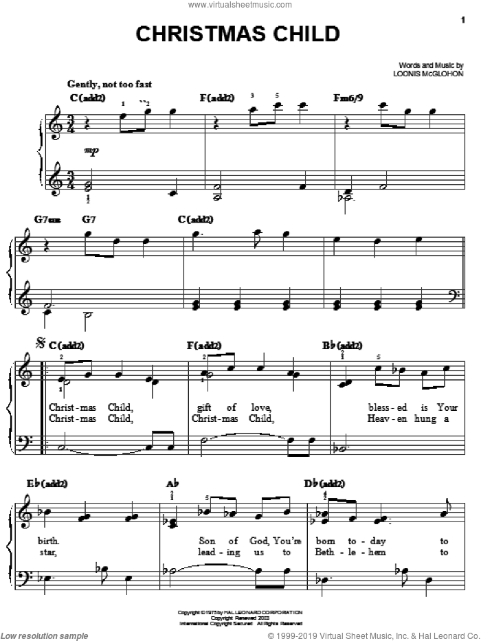 Christmas Child sheet music for piano solo by Loonis McGlohon, easy skill level