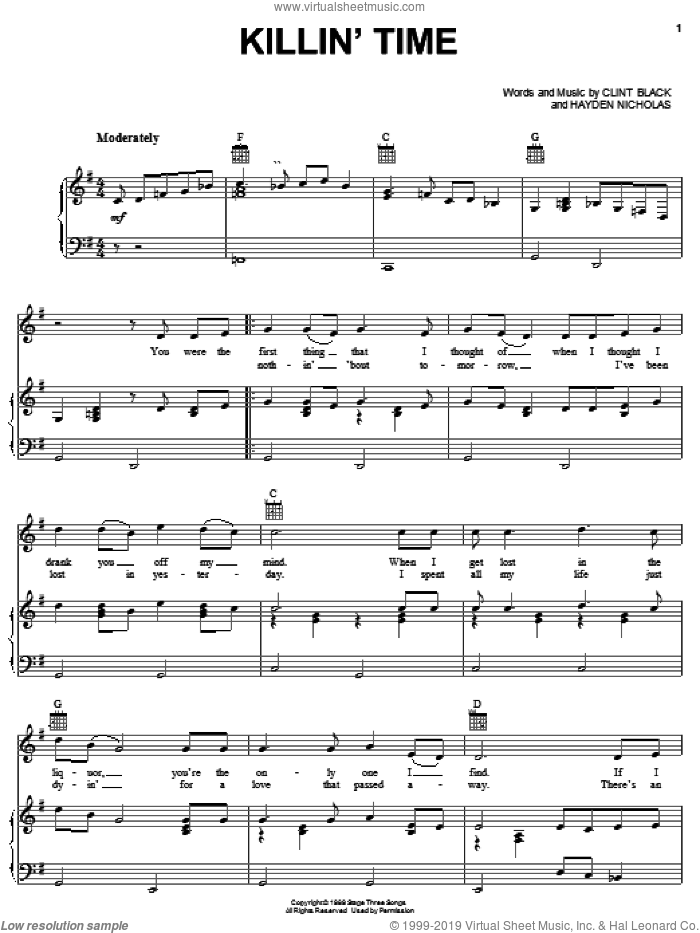 Killin' Time sheet music for voice, piano or guitar by Clint Black and James Hayden Nicholas, intermediate skill level