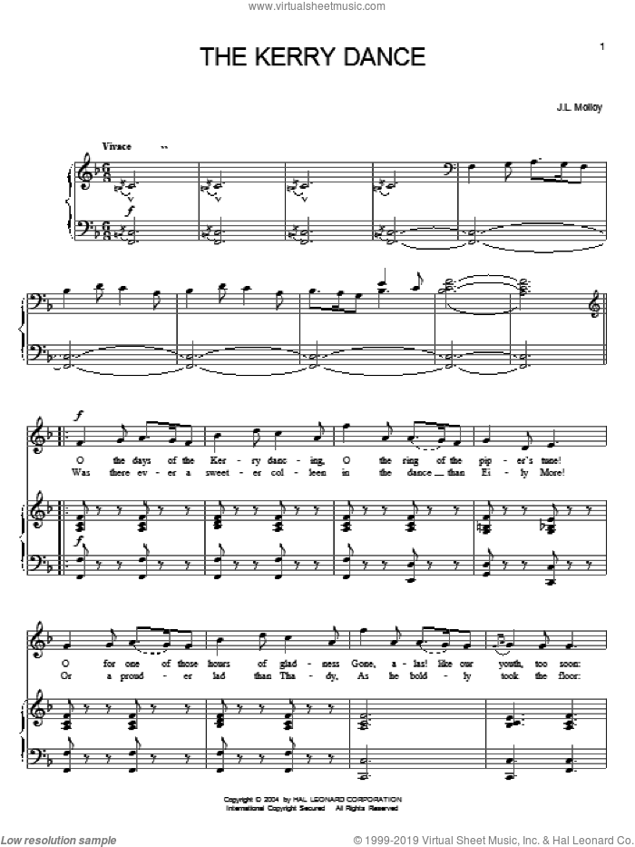 Kerry Dance sheet music for voice, piano or guitar by James Molloy, intermediate skill level