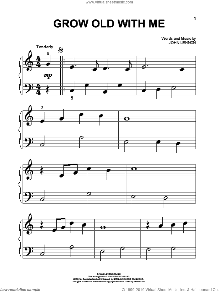Grow Old With Me sheet music for piano solo (big note book) by John Lennon and Mary Chapin Carpenter, wedding score, easy piano (big note book)