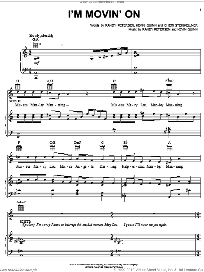I'm Movin' On sheet music for voice, piano or guitar by Kevin Quinn, Cheri Steinkellner and Randy Petersen