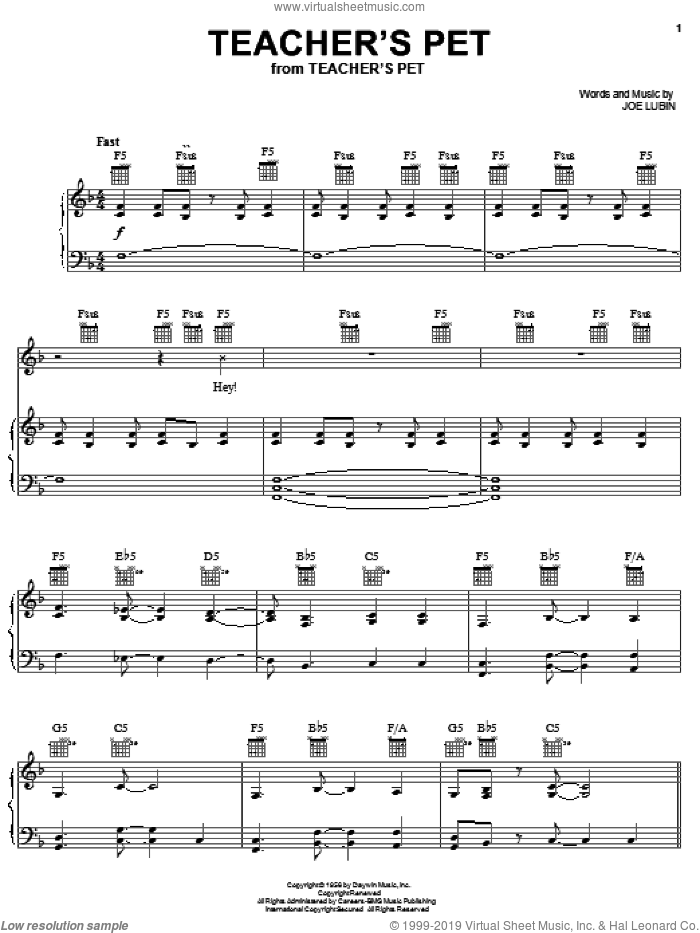 Teacher's Pet sheet music for voice, piano or guitar by Joe Lubin, intermediate skill level