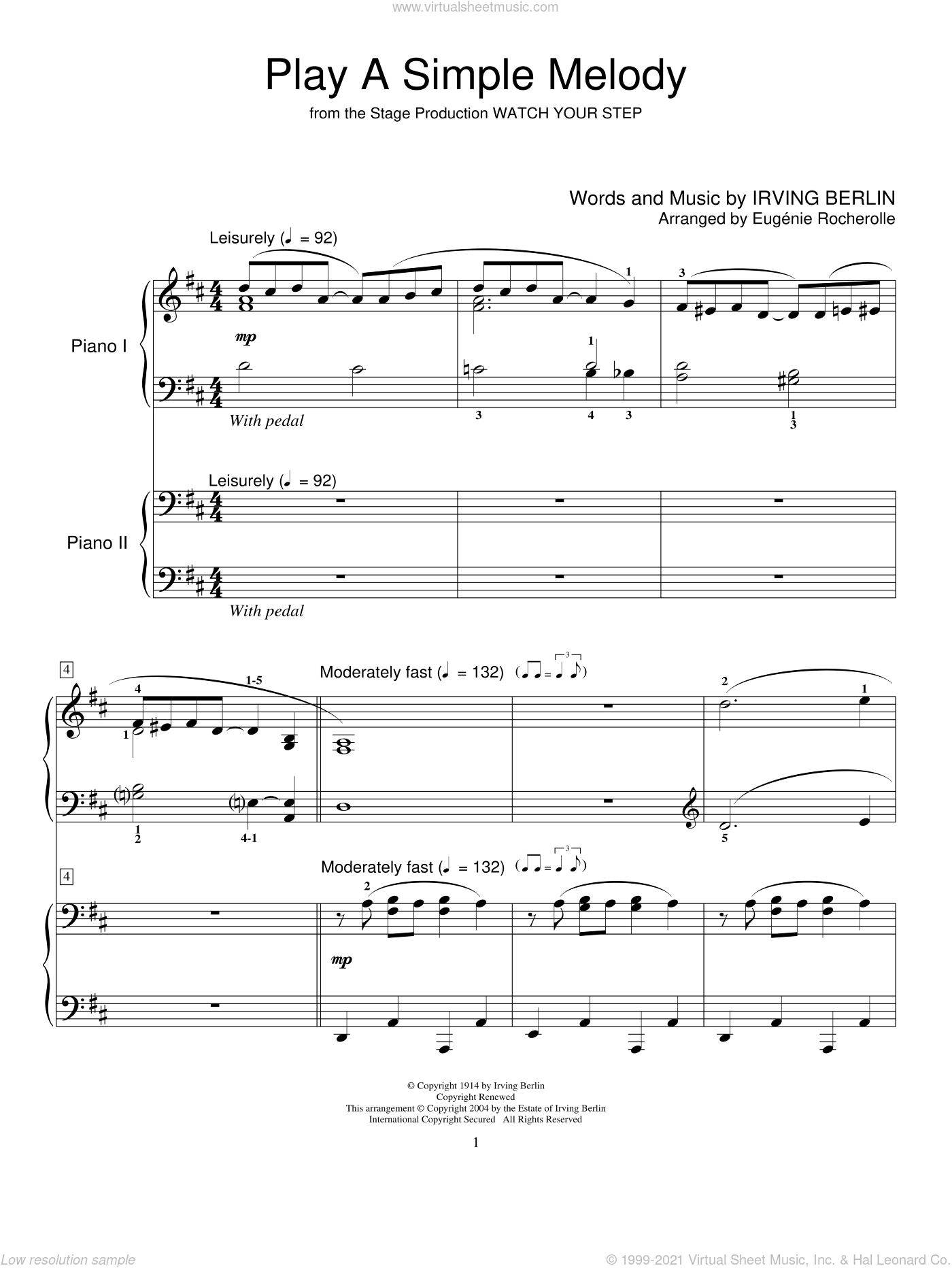 Play A Simple Melody sheet music for two pianos by Bing Crosby, Miscellaneous and Irving Berlin, intermediate duet