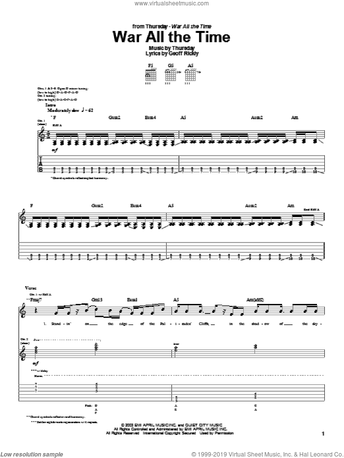 War All The Time sheet music for guitar (tablature) by Geoff Rickly. Score Image Preview.