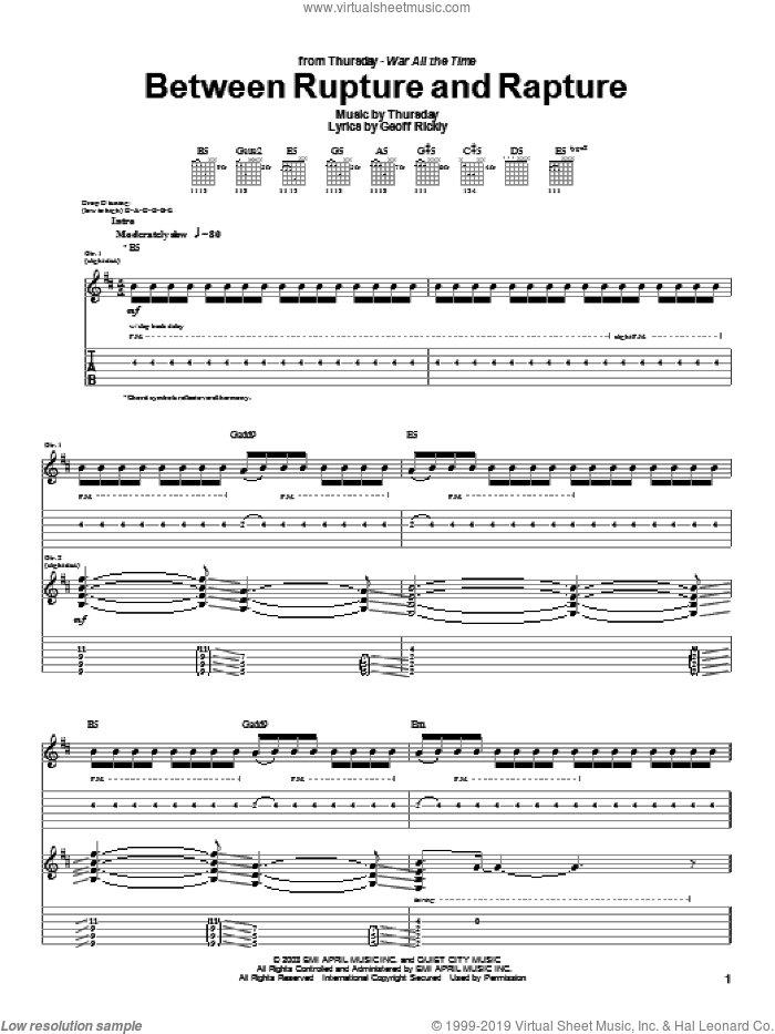 Between Rupture And Rapture sheet music for guitar (tablature) by Thursday, intermediate