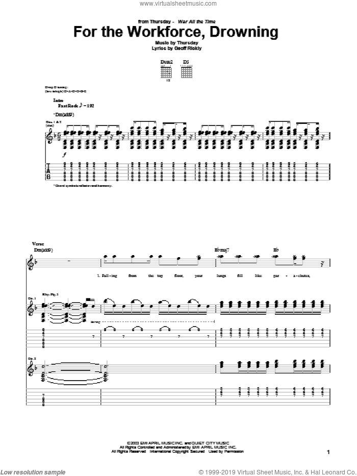 For The Workforce, Drowning sheet music for guitar (tablature) by Geoff Rickly. Score Image Preview.